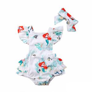 Verão Do Bebê Meninas Dos Desenhos Animados Romper Sereia Impresso Plissado top cabrito Criança Macacão Bonito Peixe estrela do mar Crianças Princesa Onesie Y2361