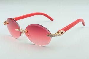 Le plus récent lentilles de coupe T3524016-5 mode diamants lunettes de soleil, des temples en bois naturel rouge rétro verres ovales, taille: 58-18-135mm