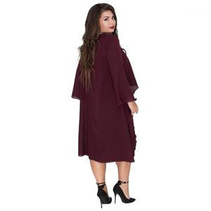 Verão Womens 6xl Casual solta Vestuário Designer Fashion Dress Crew Neck Ashymmetrical Batwing vestuário Poliéster Chiffon