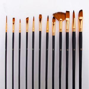 Nouvelle arrivée 12pcs Paintbrush Aquarelle Gouache Peinture à l'huile Pinceau Palette avec sac Set Art