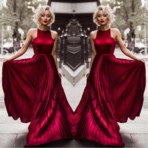 2020 Burgundy Halter A Linha Rugas Longo Prom Vestidos Blake Lively vestidos de noite do vestido da celebridade do tapete vermelho da festa de Gossip Girl para o desgaste