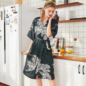 Print Female Rayon Nightgown Summer Causal Sleepwear Sexy Bride Bridesmaid Wedding Robes Loose Kimono Bath Gown Home Dress
