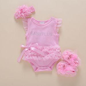 3pcs newborn baby girl clothes set summer princess bodysuits+headband+shoes kids infant jumpsuit sleeveless baby body suit T200706