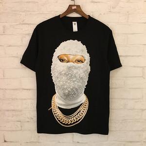 IH NOM UH NIT Paris tişört Beyaz Siyah Yüz Baskılı Pamuk Tees Marka Tasarım Kadınlar Erkekler Hip Hop Tee Kulübü Wear En SHH0408