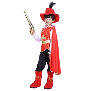 Halloween Pirate Cosplay Suit Handsome Little Samurai Costume Set with Pirate Blaster for 4-6 Years Old - M Size