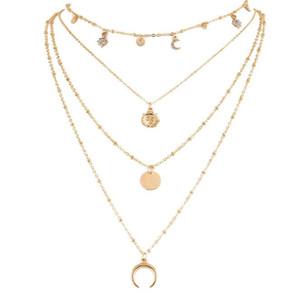 Многослойное Ожерелье Богемия Ожерелье Sun Moon Подвески Модные Подвески Для Женщин Золотая Коренастая Цепочка 4 Дизайна Аксессуаров Ручной Работы