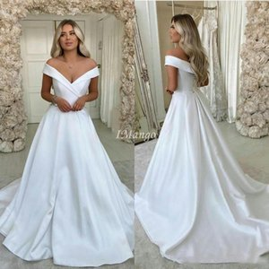 2020 Elegant Satin Wedding Dresses Off The Shoulder Buttons Back A-Line Arabic Simple Beach Bridal Gowns Sweeo Train Cheap Robe De Mariee