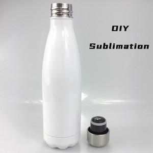 FedEx Отправить DIY сублимации 17oz белый Cola Bottle Blank нержавеющей стали 500 мл воды массажер двустенных Vacum Heat Transfer Изолированная Can