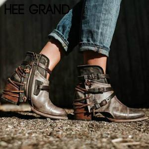 HEE GRAND 2018 Mujeres Invierno Cálido Hebilla Correa Casual Gladiadores Retro Botas de tacón grueso Calzado Zapatos Mujer Booten XWX7120