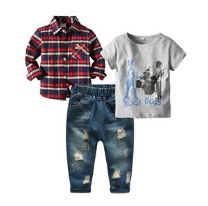 2019 جديد Kids'Dress بنين T-Shirt T-shirt T-shirt متقلب طويلة الأكمام قميص ثقب في الجينز والسراويل بدلة ثلاث قطع الأكثر مبيعا