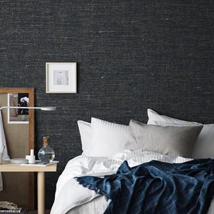 Marine-Blau / Grün / Grau Flachs Textur Plain-Tapeten-moderne Simple Dark Solid Color Non Woven Grasscloth Wall Paper