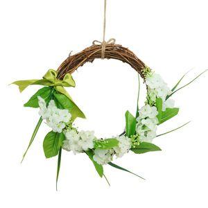 White Hyacinth Wreath Simulation Flower Home Decoration Wreath Wedding Decoration Simulation Rattan Circle Wall Mount