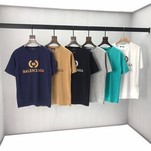 2020ss весна и лето новый высококачественный хлопок печать с коротким рукавом круглый вырез панели футболка размер: m-l-xl-xxl-xxxl цвет: черный белый cv31