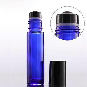 Großhandel Thick 10 ml Glas-Rolle auf Flaschen Bernstein Blue Clear Leere Rollkugel Parfüm-Flaschen mit schwarzem Lids Freien Verschiffen 1000pcs / lot