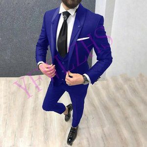 Classic One Button Handsome Groomsmen Shawl Lapel Groom Tuxedos Men Suits Wedding Prom Best Man Blazer ( Jacket+Pants+Vest+Tie) W96