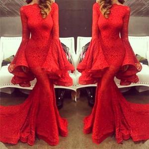 2020 neue rote Spitze-Nixe-Abend-Kleider mit langen Ärmeln Sweep Zug Stunning Abendkleider Partei-Kleider vestido Longo de festa 2018