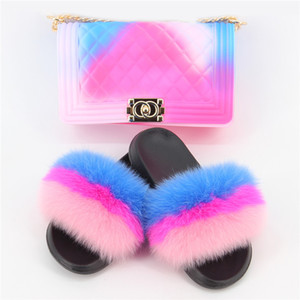 Fur Chinelos Mulheres de doces bonito Cor Bag Ladies Furry Slipper Fluffy Sandals Mulheres Bag Fur Slides Big Size 36-45 Hot