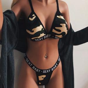 Biancheria delle donne Pigiama Pajama Set signore stampa mimetica Femme corsetto Mesh ferretto Cheeky mussola Temptation Underwear mujer