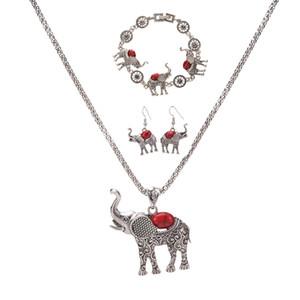 vente chaude européenne et américaine exagérée bijoux Posimiasson éléphant ensemble collier bracelet boucles d'oreilles Trois pièces ensemble en gros