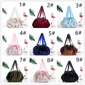 Ins Lazy Cosmetic Bag Velvet Drawstring Bags Cartoon Makeup Organizer Storage Travel Cosmetic Pouch Magic Toiletry String Bag