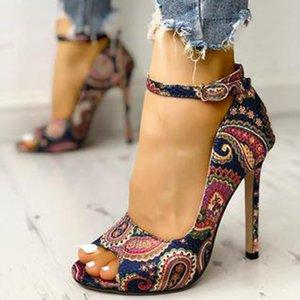 Сандалии Siddons Летнее Богемия Женщины Peep Toe Сексуальные Стелетос Насосы Дамы Вечеринка Высокие каблуки Обувь Женщина Римская