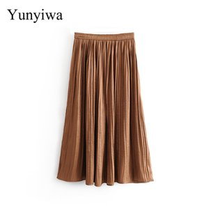 Skirts Euro Women Solid Color Shinny Pleated Long Skirt Autumn Female Chic Elastic Waist Casual Vestidos Mujer