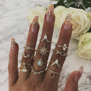 12 Pcs set Bohemian Vintage Crown Water Drops Stars Geometric Crystal Ring Set Women Charm Joint Ring Party Wedding Jewelry Gift