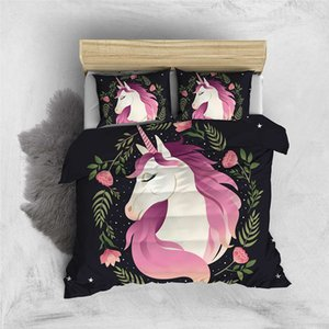 Thumbedding Unicorn Black 3D Bedding Sets For Kids Flowers Twin Full Queen King Duvet Cover Comfortable Cute Bed Set