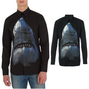 Design Cópia do tubarão camiseta In Black Fashion Casual Manga comprida Camisa Casual Fit Masculino Vestido de Empreendedorismo Social shirt dos homens roupa