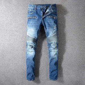 Pleated Patchwork Designer Mens Jeans Skinny With Slim Elastic Denim Fashion Bike Luxury Jeans Men Pants Ripped Hole Jean For Men EUR Size