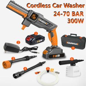 Rechargeable 20V sans fil voiture Washing Pompe Laveuse Mashine 24-70 BAR haute pression Buse tuyau de nettoyage + 25000mA batterie