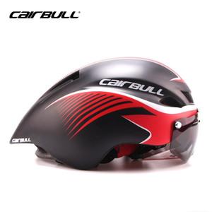 CAIRBULL MTB Yol Bisikleti Kask Gözlük Bisiklet Entegre Kalıplı Aerodinamik Spor Bisiklet Kask Triatlon Ile Lens Sunvisor