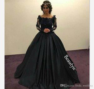 2019 Zarif Siyah Prenses Abiye Uzun Kollu Dantel Aplikler Örgün Tatil Giyim Balo Parti Kıyafeti Custom Made Artı Boyutu