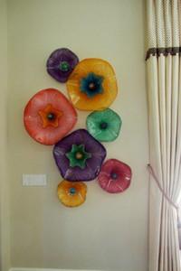 100% hecho a mano soplado placa de vidrio Lámparas de pared redonda de cristal decorativo de la pared del arte moderno abstracto de la mano de flores de cristal soplado arte de la pared