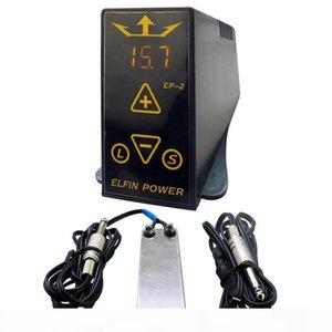 Wholesale-Professioanl Tattoo Power Supply Set Kit ELFIN EP-2 Tattoo Power Supply LCD Digital Foot Pedal Switch Clip Cord Tattoo Kit