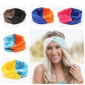 Moda Meninas estiramento torção Headband Turban Patchwork Cor Hairbands Esporte Yoga Envoltório principal Bandana Headwear acessórios de cabelo RRA2621 Favor