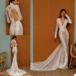 Royal Mermaid Wedding Dresses Sexy High V-neck Long Sleeve Sweep Train Appliqued Lace Bridal Gown Hollow Back Custom Made Bridal Dress