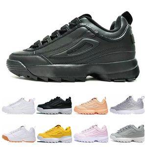 Fila disruptor 2 II hombre de la moda de las mujeres Negro Blanco Rosa gris entrenadores zapatillas de deporte de velocidad de avance lento tamaño de los zapatos 36-44