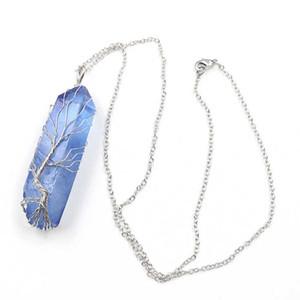 Hayat Takı Toptan 5 adet Gümüş Kaplama Tel Wrap Düzensiz Şekli Kristal Boyalı Mavi ve Mor kolye Bağlantı Zincir kolye Ağacı