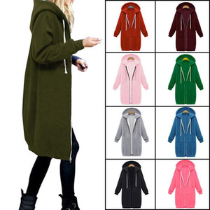 Herbst-Winter-Frauen Hoodies Overcoat Hooded Zipper langer Mantel-beiläufige lose Sweatshirt Cardigan Design-Jacke Mäntel Weiblich Outwear Kleidung