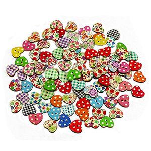 100 adet Renkli Kalp Şeklinde Düğün Parti Dekor 2 Delik Ahşap Dikiş Düğmeler