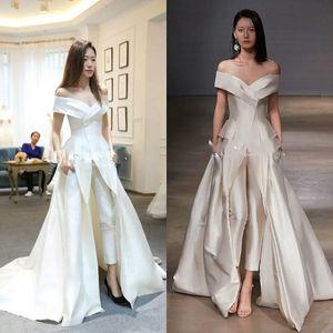Pas cher femmes Jumpsuit avec de longues robes de soirée blanche Off épaule balayage train robe de bal élégante de fête robe Zuhair Murad Vestidos Festa