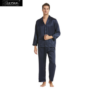 LilySilk Pajamas Set For Men 100 Pure Silk 16 momme Mulberry  Long Sleeves Notched collar Men's Clothing Free Shipping