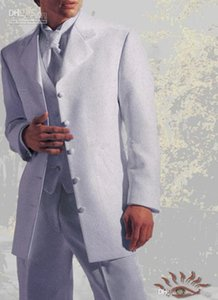Novo Estilo cinco botões Branca Noivo Smoking Man Blazer Prom Dress Suits Wedding Suit 4149