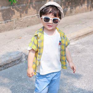 Boys shirt summer children's clothing new children's short-sleeved shirt baby cotton plaid shirt top