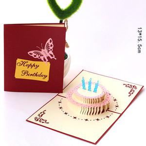 Творческое бумаги Hollow торт карты 3D Личность Handmade Brithday Поздравительные партбилеты высокого качества Поздравительная открытка 2 цвета