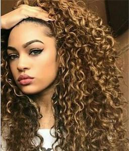 Explosión Cabeza afroamericano pelucas largo sellAfro rizado rizado pelucas sintéticas a prueba de calor Gluelese del frente del cordón pelucas para mujeres Negro FZP124