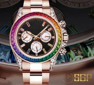 Factory Rose Gold Prestige Table 116595 Rainbow Section 7750 Montre mécanique automatique, étui, bande de montre en acier raffiné 316L