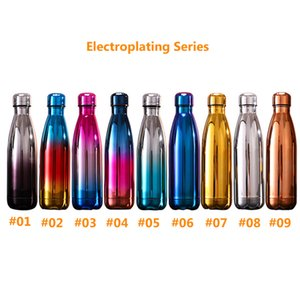 Bottle 17 oz banhado Água Moda Narrow Neck aço inoxidável garrafa de água Dual-layer isolada termicamente Leakproof Sports Flask SEA A09