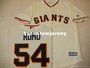 Pas cher sur mesure MENS MAJESTIC # 54 Sergio Romo Baseball JERSEY CRÈME Mens maillots cousu Big and Tall TAILLE XS-6XL A vendre